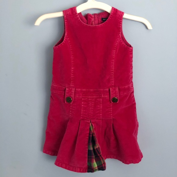 94092b487 GAP Dresses | Pink Velvet Baby Dress With Plaid Peekaboo | Poshmark